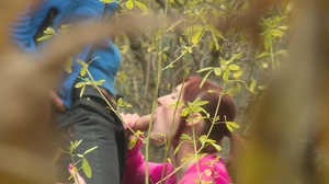 Redhead teen chick sucks and rides huge dick in the woods - XXXonXXX - Pic 4