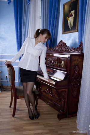 Spicy office girl in black stockings and - XXX Dessert - Picture 1