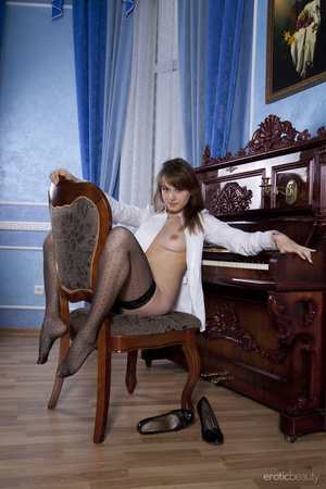 Spicy office girl in black stockings and - XXX Dessert - Picture 3