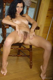 black-haired cutie touching her