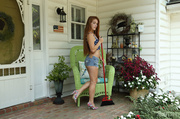 redhead teen stretches her