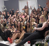 Tons of young and milf babes are having fun at wild lesbian party
