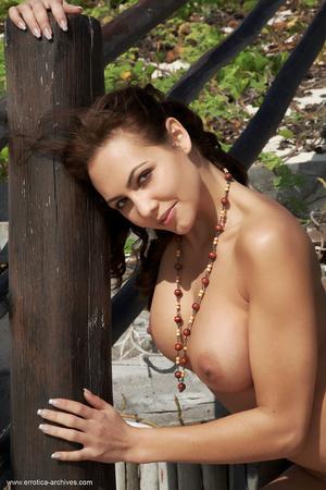 Big-breasted slender brunette poses full - XXX Dessert - Picture 12