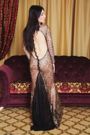 glamorous dark-haired babe spreads