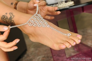Asian in foot jewelry, redhead and a bru - XXX Dessert - Picture 5