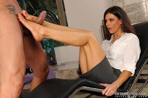 Beautiful brunettes give foot jobs, suck - XXX Dessert - Picture 3
