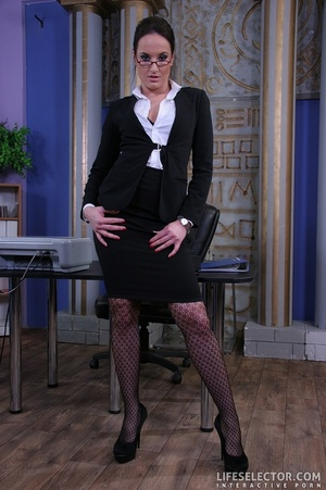 Brunette secretary in glasses gets tied  - XXX Dessert - Picture 1