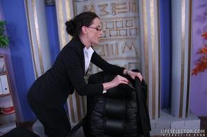 Brunette secretary in glasses gets tied  - XXX Dessert - Picture 3