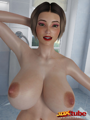Chick with massive tits is naked on the bathroom - Picture 1