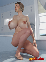 Chick with massive tits is naked on the bathroom - Picture 5
