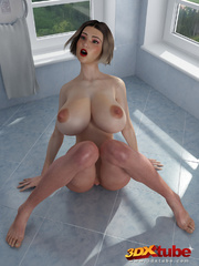 Chick with massive tits is naked on the bathroom - Picture 6