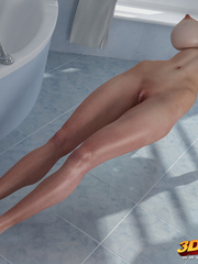 Chick with massive tits is naked on the bathroom - Picture 7