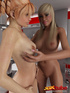 Redhead and blonde eat each other out in the kitchen.