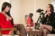 seductive two brunettes black