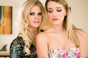 glamorous two blondes flowery