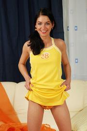 girl yellow dress tickles