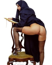 beautiful nun shows her