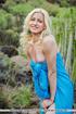 stunning blonde girl hikes