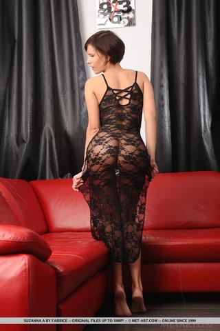 brunette lady tight black