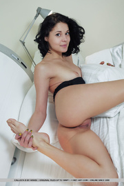 classic black-haired babe sensually