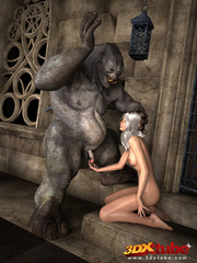 White-haired babe gets her pussy wrecked by ogre's - Picture 1