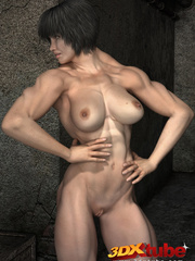 Black-haired girl with big muscles teases with hot - Picture 3