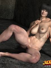 Black-haired girl with big muscles teases with hot - Picture 6