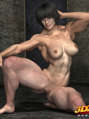 Black-haired girl with big muscles teases with hot - Picture 8