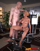 Blonde lady pauses exercising to suck and fuck her trainer.