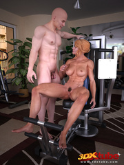 Blonde lady pauses exercising to suck and fuck her - Picture 1