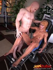 Blonde lady pauses exercising to suck and fuck her - Picture 2