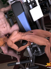 Blonde lady pauses exercising to suck and fuck her - Picture 4