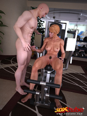 Blonde lady pauses exercising to suck and fuck her - Picture 5