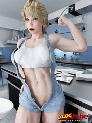 Muscular babe strips naked on her kitchen top to - Picture 2