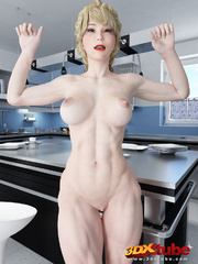 Muscular babe strips naked on her kitchen top to - Picture 5