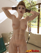 Edgy blonde babe strips and fondles pussy on couch in living room!