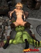 Green beast gets a blonde beauty out of her slutty ensemble for sexy and