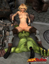 Sexy and horny blonde witch rides the hung dick of green ogre.