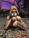 Sexy blonde babe seductively poses naked in post-apocalyptic world.
