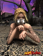 Knockout in a blue garter belt and gas mask makes eyes pop when she poses.