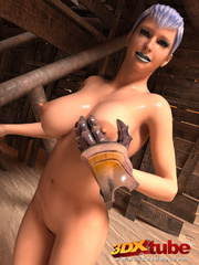 Busty girl fondles her horny pussy with her metal - Picture 3