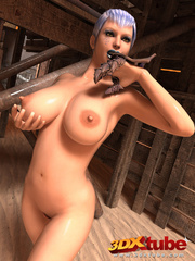 Busty girl fondles her horny pussy with her metal - Picture 9
