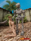 Silver robot ravages a radiant sweetie in a peaceful outdoor environment.