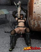 Raider babe is fucked in the pussy by a scary monster.