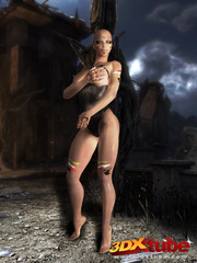 Bald witch babe with big titties fingers horny pussy - Picture 4
