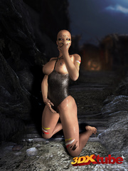Bald witch babe with big titties fingers horny pussy - Picture 5