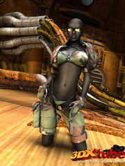 Sexy black soldier strips and shows her huge boobs - Picture 2