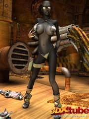 Sexy black soldier strips and shows her huge boobs - Picture 3