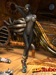 Sexy black soldier strips and shows her huge boobs - Picture 7
