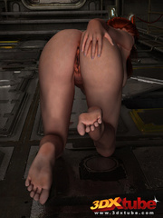 Redhead gets down on the dirty floor to finger hot - Picture 7